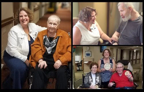 three photos of Stephanie with older adult residents, smiling
