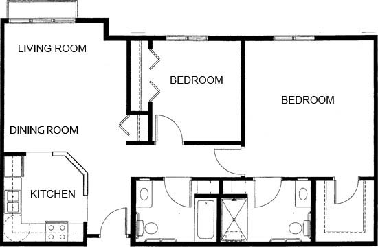 Two Bedroom/Two Bath - Two Bedroom Floorplan