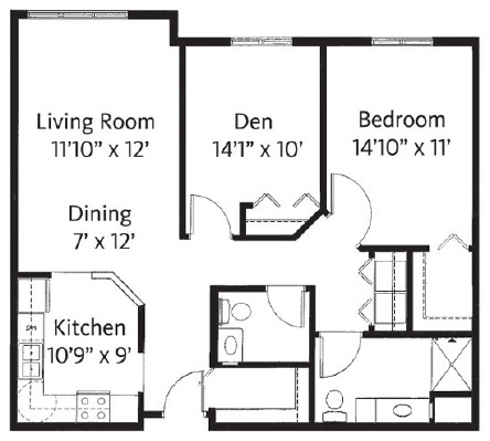 One Bedroom/Den - One Bedroom Floorplan