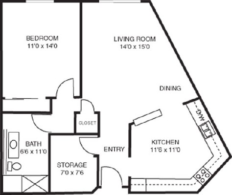 Evening Star - One Bedroom Floorplan