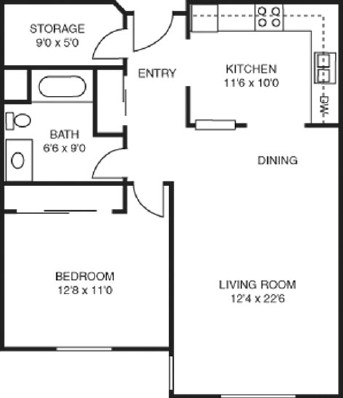 Geranium - One Bedroom Floorplan