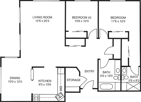 Marigold - Two Bedroom Floorplan