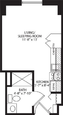 Assisted Living Studio Apartment - Studio Floorplan