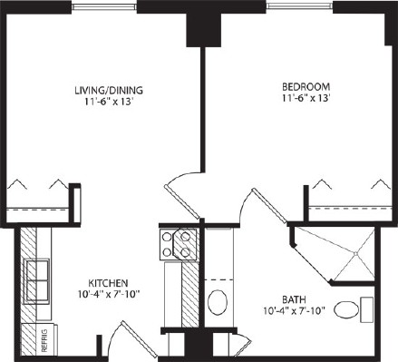 Assisted Living One Bedroom - One Bedroom Floorplan