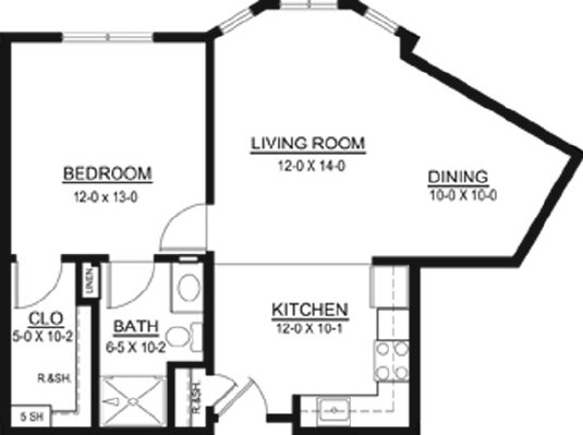 Harriet Bishop - One Bedroom Floorplan