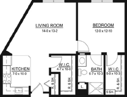 Ida Clark - One Bedroom Floorplan
