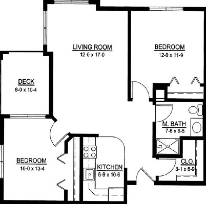 LeClaire Belle - Two Bedroom Floorplan