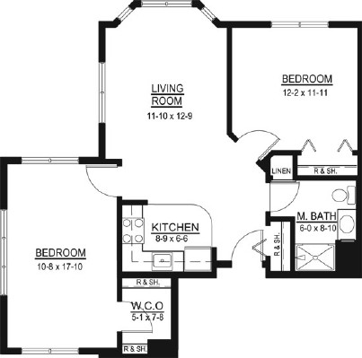 Mollie Whitmore - Two Bedroom Floorplan