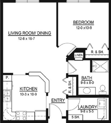 Bun Hersey - One Bedroom Floorplan