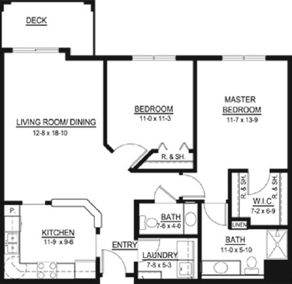 Fanny Thornton - Two Bedroom Floorplan