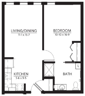 Chippewa - One Bedroom Floorplan