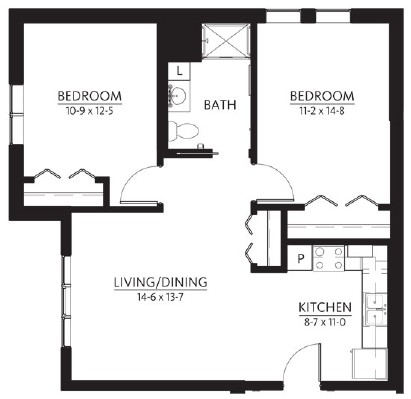 Sandstone - Two Bedroom Floorplan
