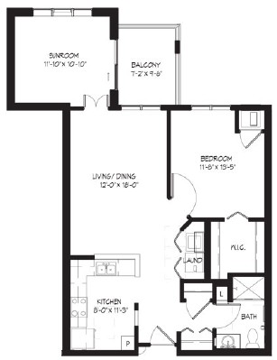 Foster (w/sunroom) - One Bedroom Floorplan