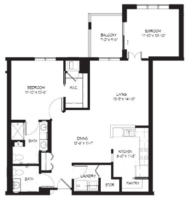 Morgan (w/sunroom) - One Bedroom Floorplan