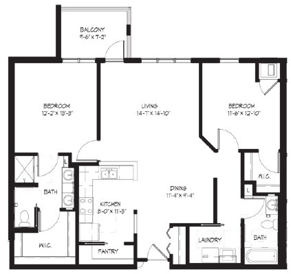 Piers Gorge - Two Bedroom Floorplan