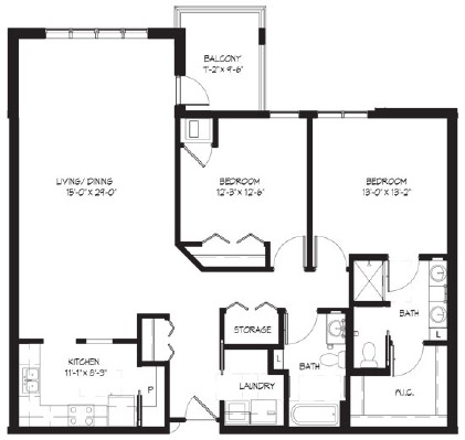 Spring Camp - Two Bedroom Floorplan
