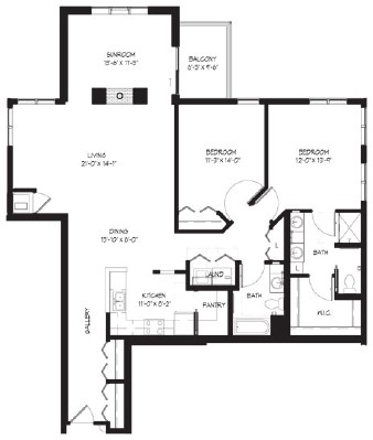 Twelve Foot (w/sunroom) - Two Bedroom Floorplan