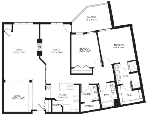 Upson (w/family room) - Two Bedroom Floorplan