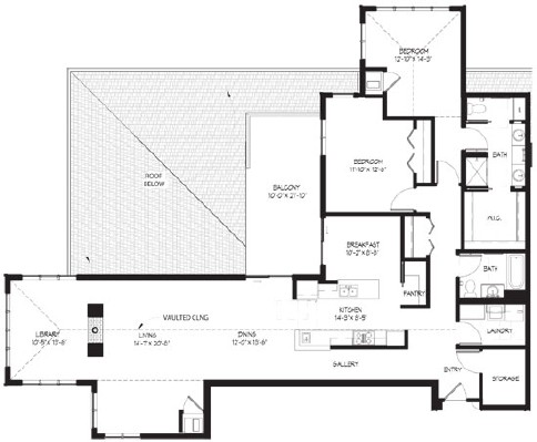Wren (w/library) - Two Bedroom Floorplan