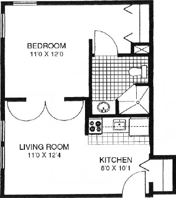 Rock Elm - One Bedroom Floorplan