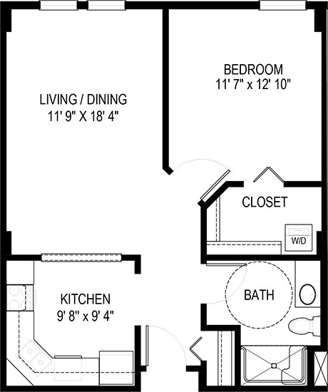 Apple Blossom - One Bedroom Floorplan