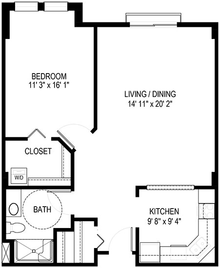 Bluebell - One Bedroom Floorplan