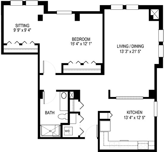 Forget-Me-Not - One Bedroom Floorplan