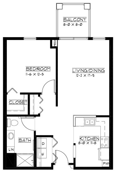 Augusta - reversed - One Bedroom Floorplan
