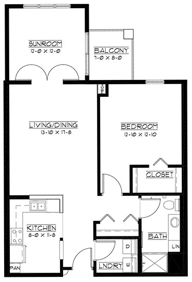 Oakmont - plus - One Bedroom Floorplan