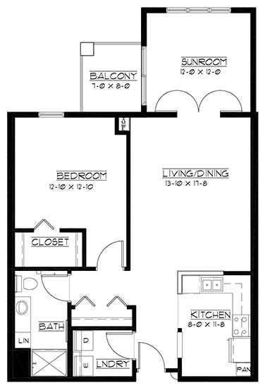 Oakmont - plus reversed - One Bedroom Floorplan