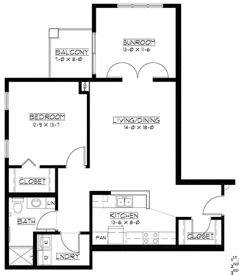 Pebble Beach - plus - One Bedroom Floorplan