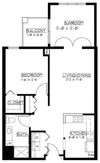 Muirfield - plus - One Bedroom Floorplan
