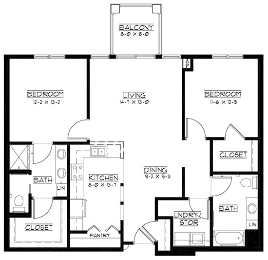 Pine Valley - accessible - Two Bedroom Floorplan