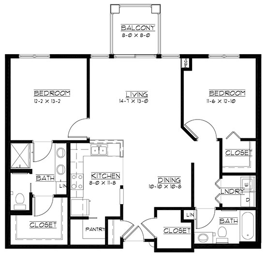 Pinehurst - reversed - Two Bedroom Floorplan