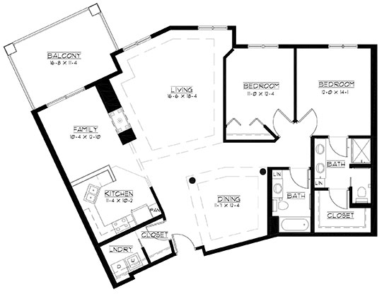 Sand Hills - plus - Two Bedroom Floorplan
