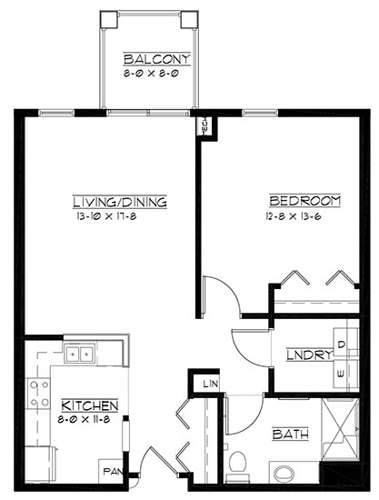 Melbourne - accessible - One Bedroom Floorplan