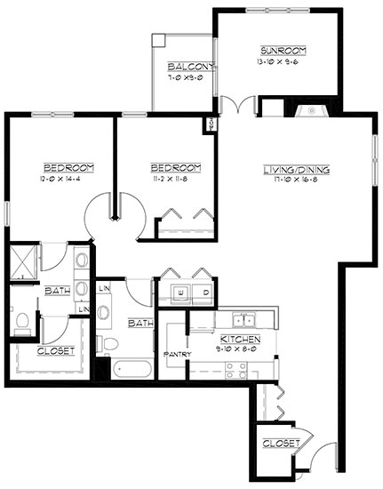 Royal Dornock - plus reversed - Two Bedroom Floorplan
