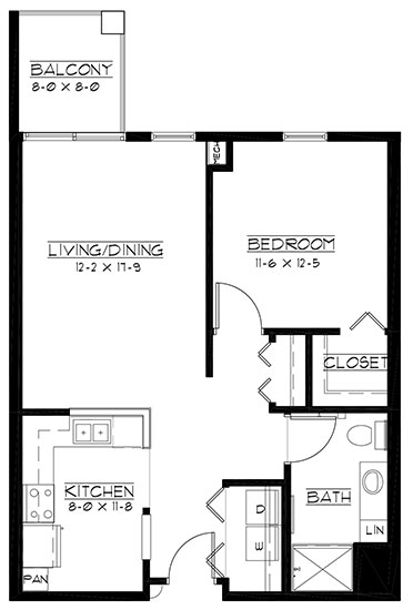 Augusta - One Bedroom Floorplan