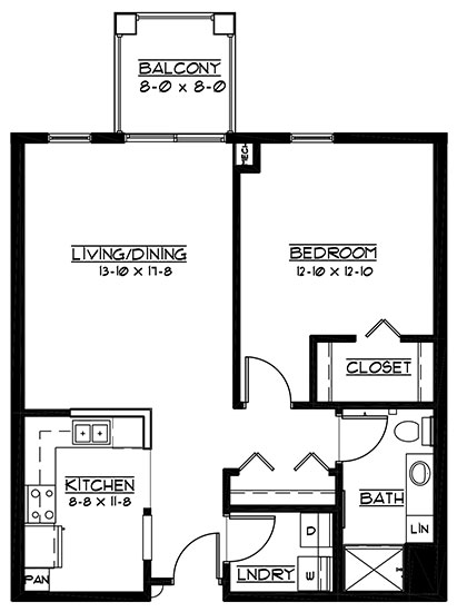 Cypress Point  - One Bedroom Floorplan