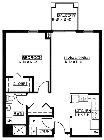 Cypress Point - reversed - One Bedroom Floorplan
