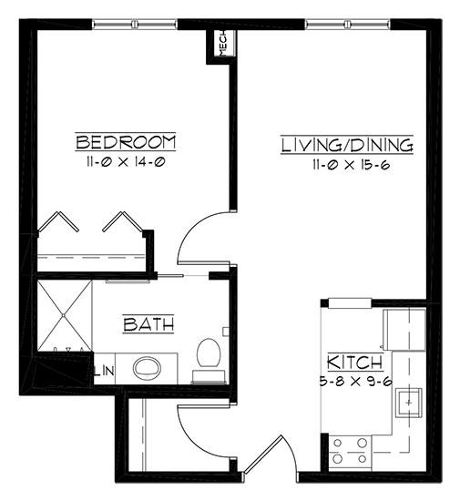 Erin Hills - One Bedroom Floorplan