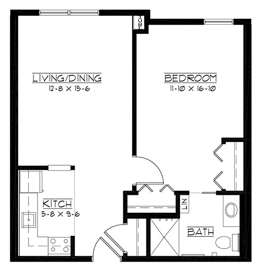 Milwaukee - One Bedroom Floorplan