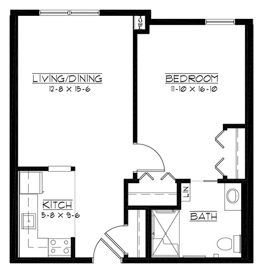 Milwaukee - accessible - One Bedroom Floorplan