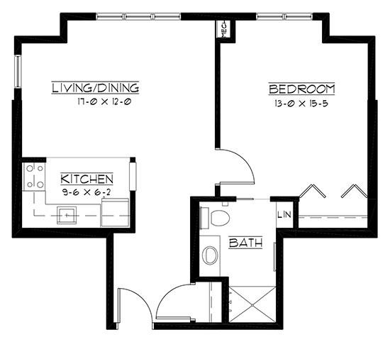 Oneida - One Bedroom Floorplan