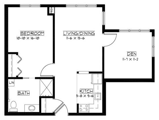 Strawberry Creek - One Bedroom + Den Floorplan