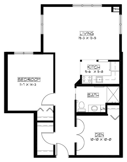 Troy Burne - One Bedroom + Den Floorplan