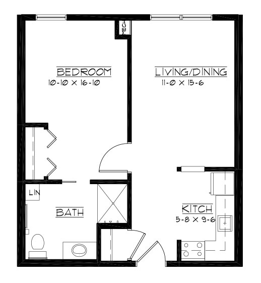 Champions - One Bedroom Floorplan