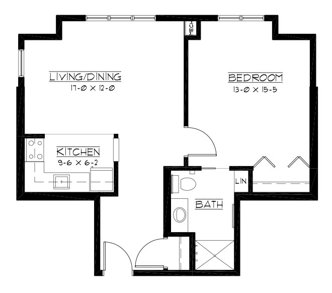 National - One Bedroom Floorplan