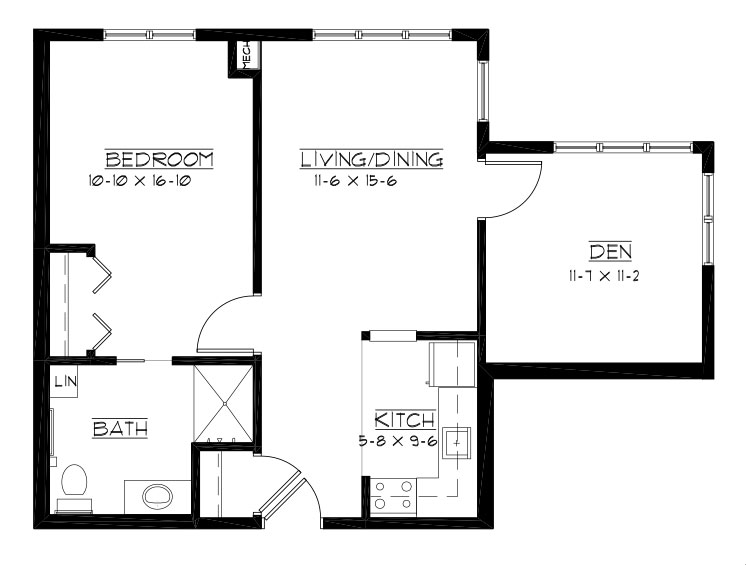 ProAm - One Bedroom + Den Floorplan
