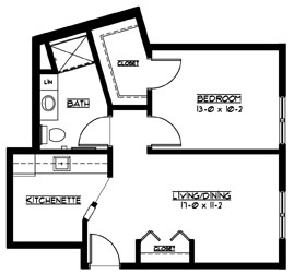 G - One Bedroom Floorplan